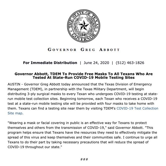 .@TDEM in partnership with @TXMilitary will begin distributing 3-ply surgical masks to EVERY Texan who undergoes #COVID19 testing at state-run test collection sites. Texans can find testing site locations here ➡️ bit.ly/3hSdKtX