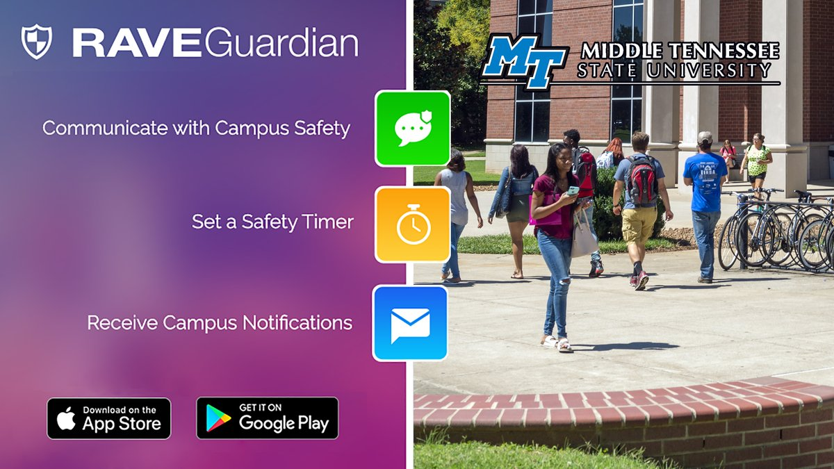 Speaking of #TrueBlueSafety, y'all: Your phone can become a rapid-response #safety device with the FREE @RaveMSafety Guardian App! This great app's for everyone with an #MTSU email address: https://t.co/PtOVsYUPYM 💪📱🚔 https://t.co/ZJ6PCBmSrg