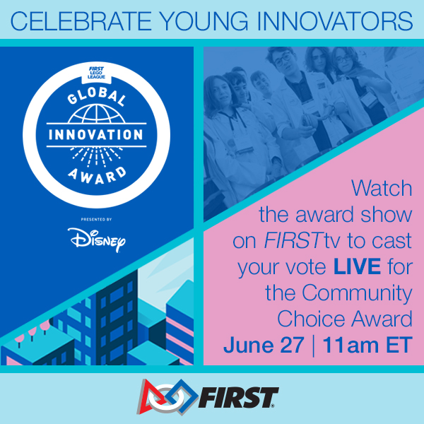 Watch @firstlegoleague's #GlobalInnovationAward tomorrow (June 27) at 11 am ET to see 20 semi-finalist teams from around the world showcase their creative solutions for safer and more accessible spaces in cities and communities. https://t.co/EQJpiX6Lf8