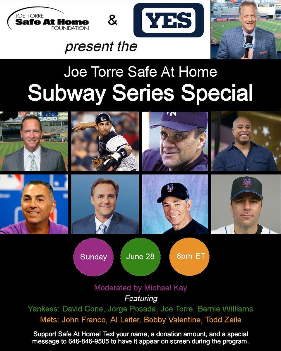 Tune into @YESNetwork on June 28 at 8pm for a Subway Series Special featuring John Franco @AlLeiter22 @JORGEPOSADA_20 @JoeTorre @BobbyValentine @Todd_Zeile @dcone36 @bw51official @RealMichaelKay. Thanks to presenting sponsors @FCTC10 @SOMPatriots @ClintonHonda for your generosity