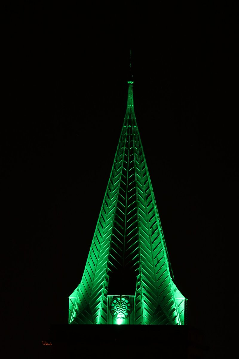 Once again, our spire will be green tonight. This time to acknowledge the magnificent work of the St Johns' Ambulance. @stjohnsambulanc  @engcathedrals @medway_council @churchofengland https://t.co/xZAR95d2tx