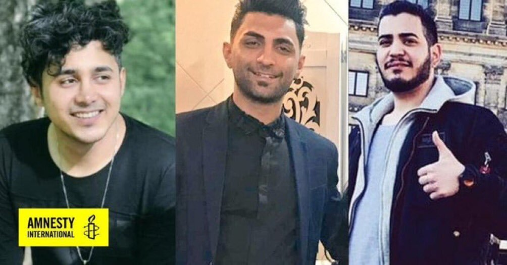 The Islamic regime in Iran is to execute these three young men who participated in the peaceful protests in #November2019  The Persian media outside Iran haven't covered this as much as they covered the #GeorgeFloydProtestspic.twitter.com/yfC7MWzIuh