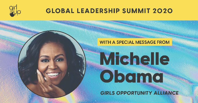 This just in: @MichelleObama will share a special message at the 2020 @GirlUp Leadership Summit in celebration of girls around the world.❤️ ️ Register and tune in when the virtual Summit kicks off on July 13: girlup.org/summit