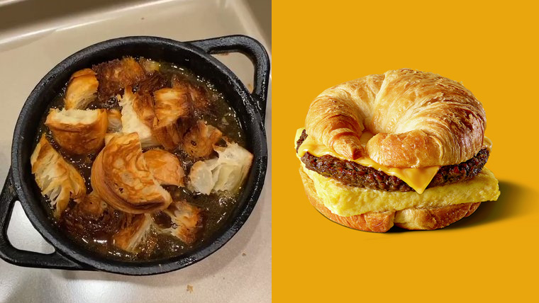 Croissant🥐or not croissant? Would you rather eat the French onion soup 🍲 with #croissant croutons by @chrissyteigen (we mentioned it last month) OR try the Impossible™ Croissan'wich 🍔 by @BurgerKing X @ImpossibleFoods? We're both puzzled and intrigued 🤔 What do you think? 👇