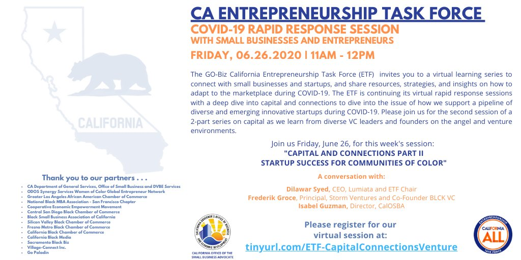"""Continue the conversation on """"Capital and Connections Part II: Startup Success for Communities of Color""""   Learn from #VC & angel investors about how to support a diverse & innovative emerging #startups during #COVID-19.   Free to register: https://t.co/CAhNiLe2eH https://t.co/o3niAgbb0G"""