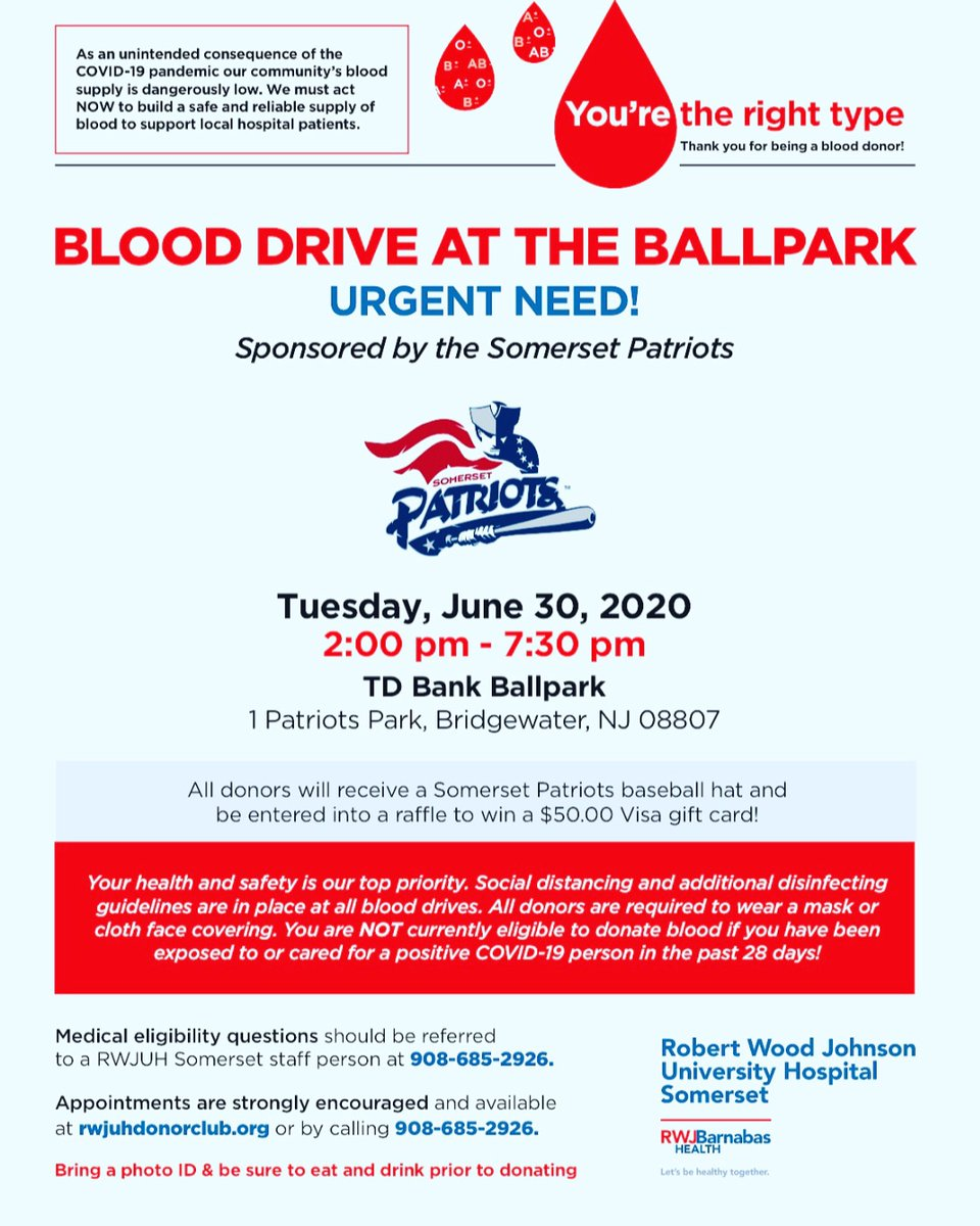 It's #timetosavelives! Join us and donate blood on June 30th at the TD Bank Ballpark in Bridgewater.   Please call 908-685-2926 to make an appointment.   #blooddonation #rwjsomerset https://t.co/ZMdcx9aLOW