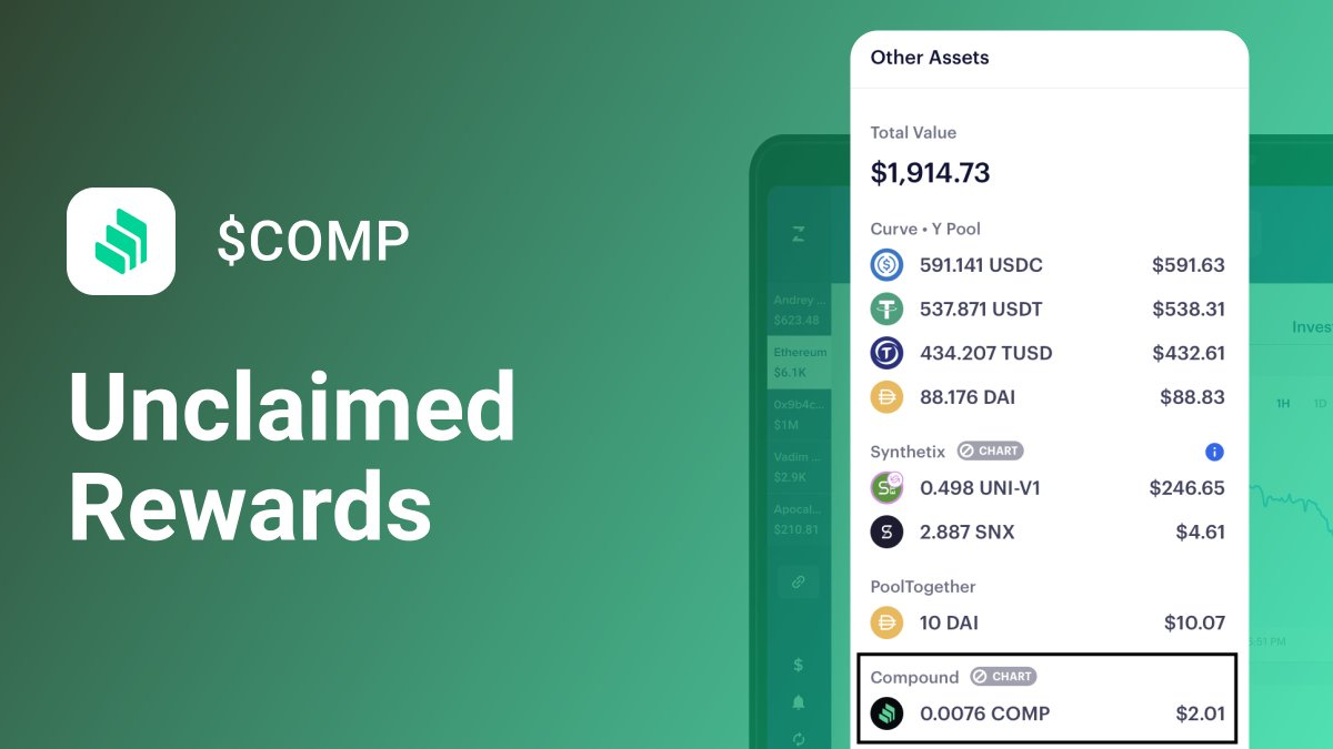 To all the $COMP farmers out there: You can now view your unclaimed $COMP right within your Zerion Overview tab! ⛏👨🌾 Psst...check out our new Market page where you can actively monitor the value of $COMP, $BAL & all other Ethereum-based tokens 📈 beta.zerion.io/market/asset/C…