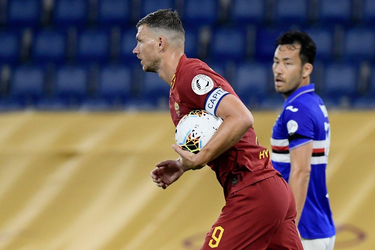 104 - Edin #Dzeko ha realizzato 104 gol con la maglia della Roma, raggiungendo Pedro Manfredini al 5º posto nella classifica dei migliori marcatori giallorossi in tutte le competizioni. Bomber.  #SerieA #RomaSampdoria https://t.co/TsKeQZAfCh