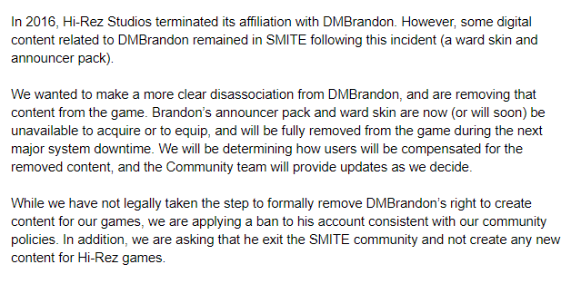 A brief message related to the SMITE community.
