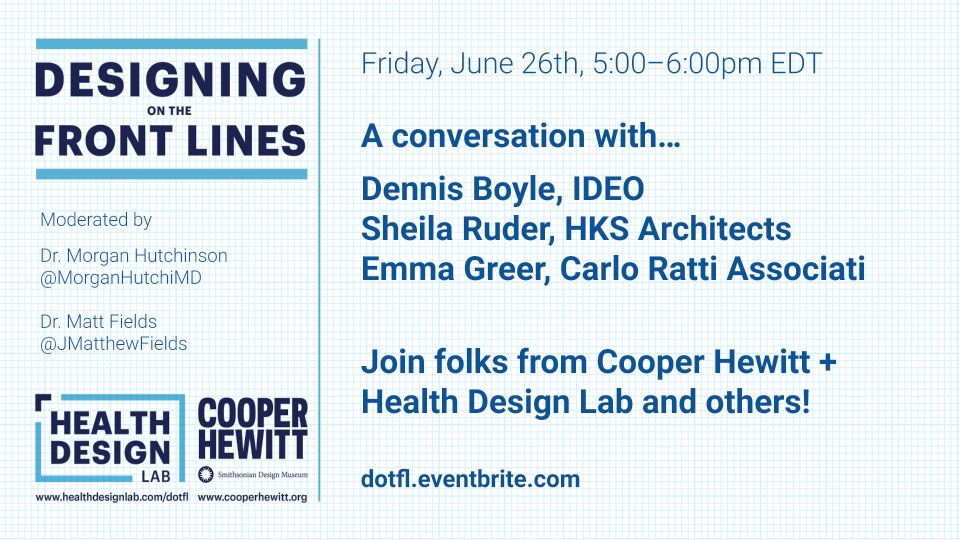 Join @healthdesignlab and @cooperhewitt Friday, June 26, 5p ET! A weekly conversation about the role of design during Covid-19. This week, meet @dennisjboyle @ideo, Sheila Ruder @HKSArchitects, and Emma Greer @crassociati.  Register: https://t.co/cX033Bca39 https://t.co/rU537YBNxO
