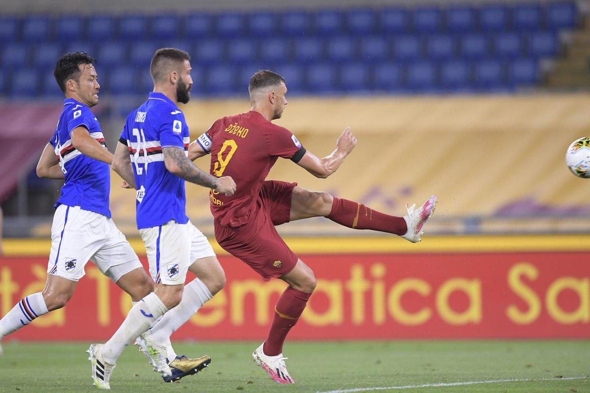 Super @EdDzeko e la Roma riparte 🔙🎉 Splendida doppietta del bosniaco 🇧🇦 2-1 all'Olimpico 🏟  #RomaSamp https://t.co/HiqzeD154D