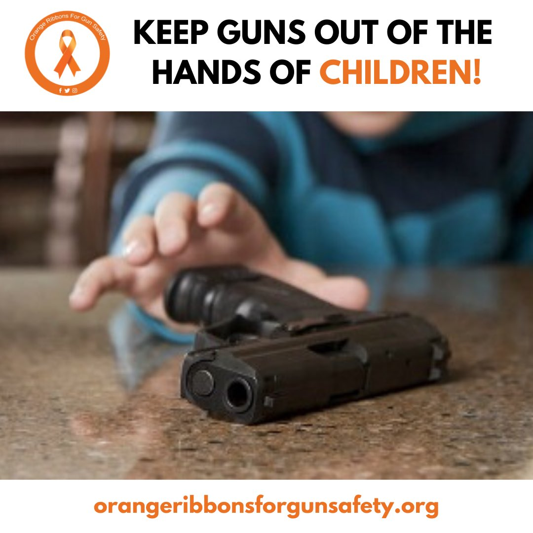 """""""An unlocked gun is an attractive nuisance around children of any age. One mistake can cause a permanent disability or even death."""" Read more at https://t.co/WiTGtYTMbD.   #OrangeRibbonsForGunSafety https://t.co/jgiwari8kS"""