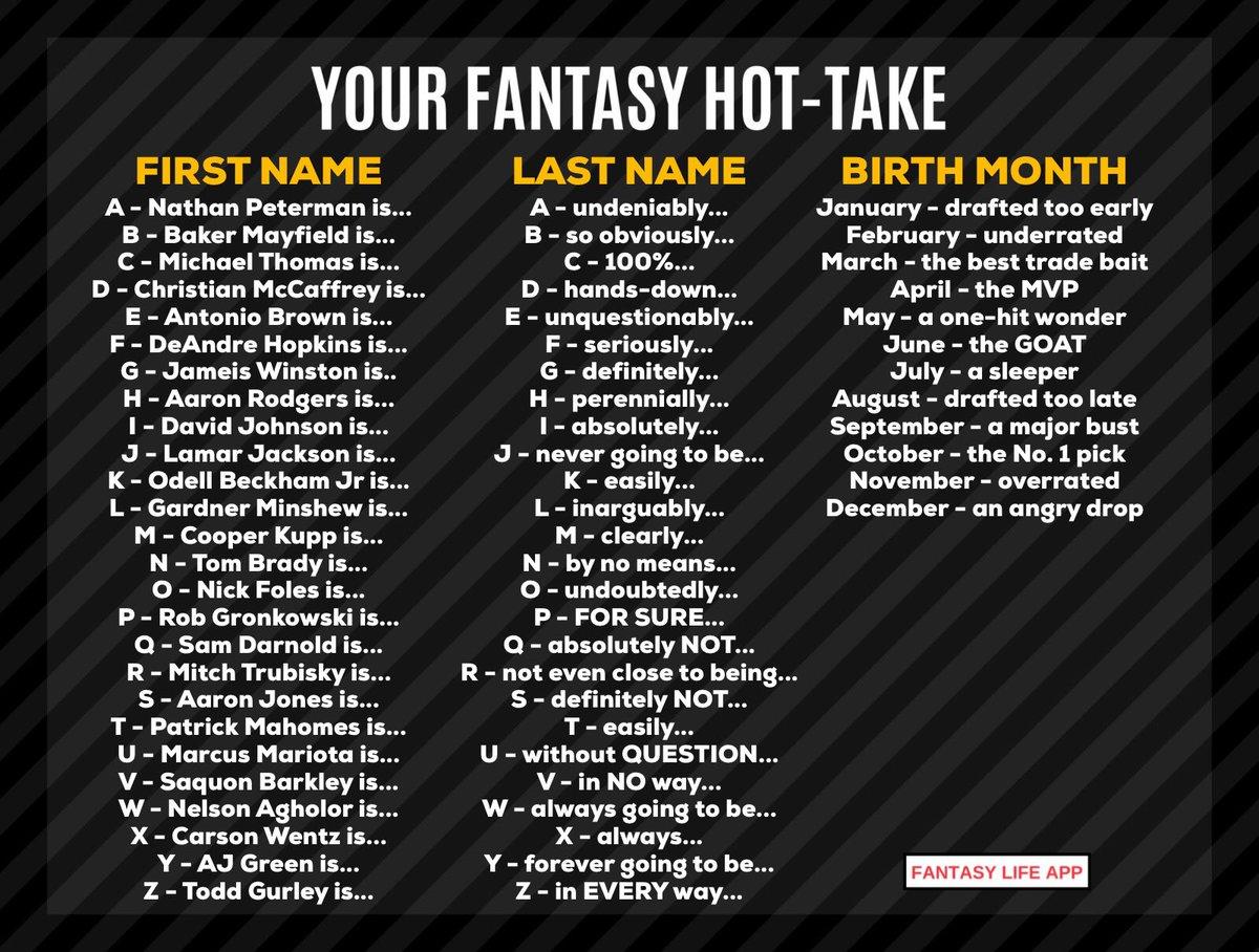 What's your fantasy hot take? https://t.co/WWvdaLMt5A