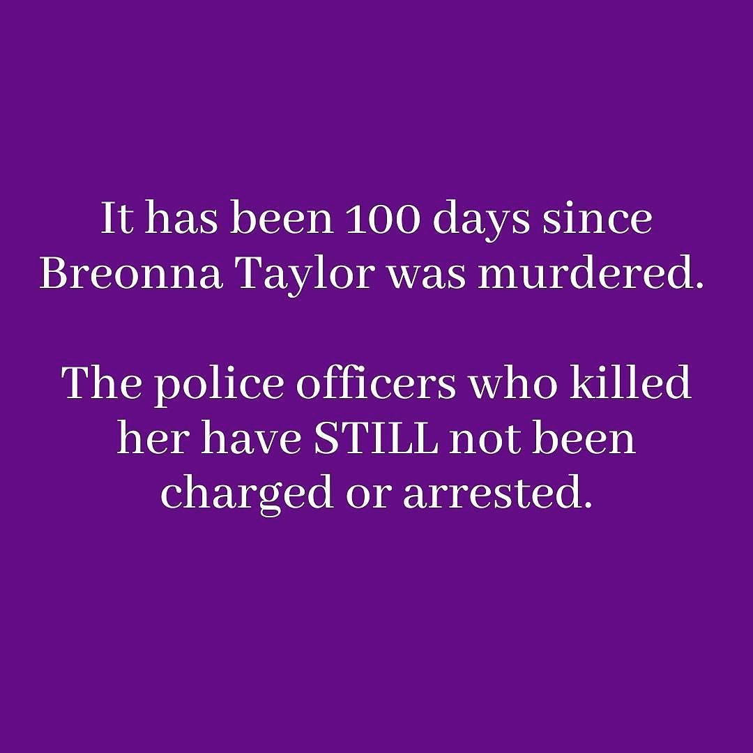 """#Repost @/Mengwe on IG 💜  """"100 days. And Breonna's killers have not been charged or arrested. HOW DO YOU PASS A LAW NAMED AFTER BREONNA BUT DON'T ARREST THE PEOPLE WHO KILLED HER?! Her name is no longer trending, and people have stopped talking about her. https://t.co/VR5FxDIMDd"""
