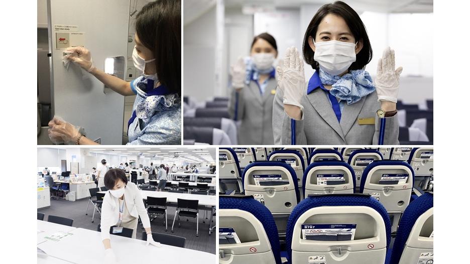 【青空に恋💙した人々】 客室乗務員は、感染予防対策としてマスク・手袋を着用し、飛行中もラバトリーやギャレーの除菌を行っています✨ お飲物、機内販売、毛布や機内誌等の機内サービスは休止・簡素化しています。 オフィスでは1日2回の消毒を行い、3密回避の対策を徹底しています。 #ANACarePromise