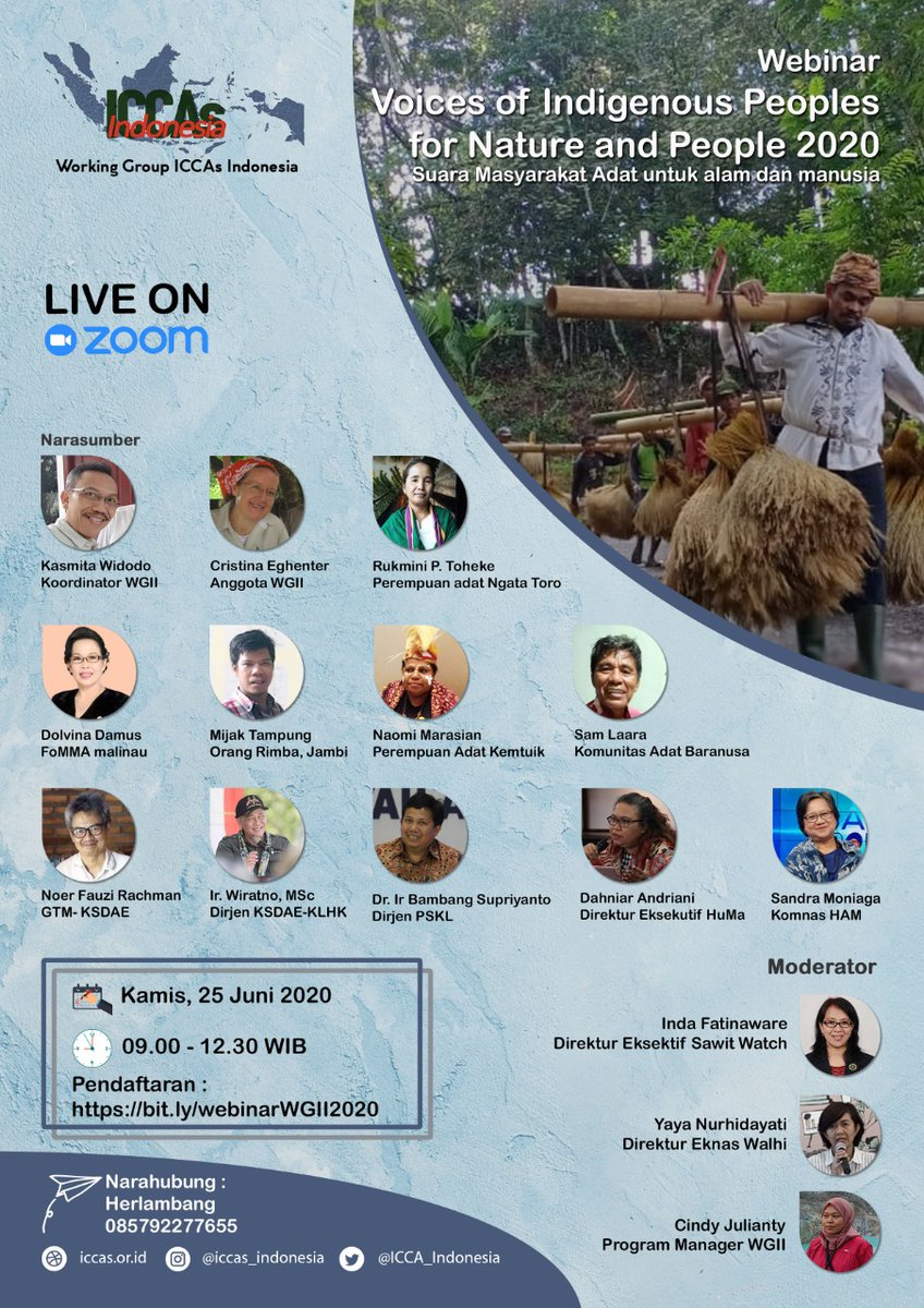 Hari ini, ayo gabung !!!  Webinar : Voices of Indigenous Peoples of Nature and People 2020 https://t.co/8D1eqamljD