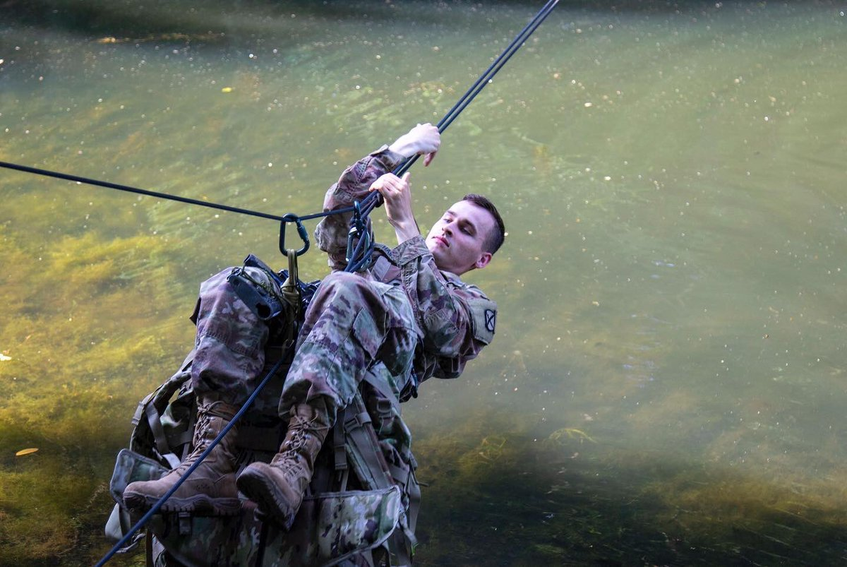 Rope bridge training or a summer swim? You tell us, @1BCT10MTN! #ClimbToGlory #FindAWay