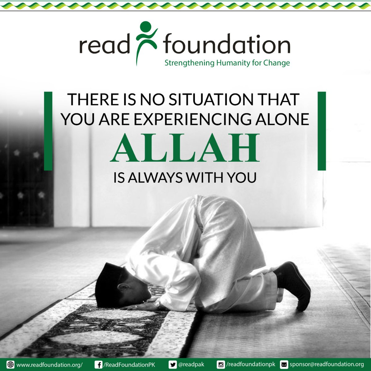 Always remember :There is no situation that you are experiencing alone, ' Allah ' is always with you. https://t.co/PhL8Givw5b