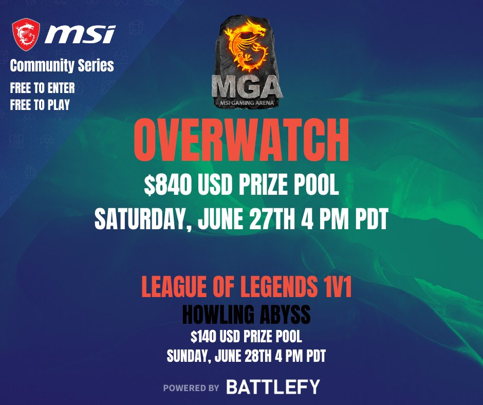 Team up during this weekend's @msiUSA's monthly NA #Overwatch $840 USD prize pool tournament or drop in on Sunday's weekly $140 #LeagueOfLegends 1v1s-- free to play; sign-ups are limited, see you there. 😎https://t.co/HFmFjRL4Q0 https://t.co/GtrQ0pDcs9