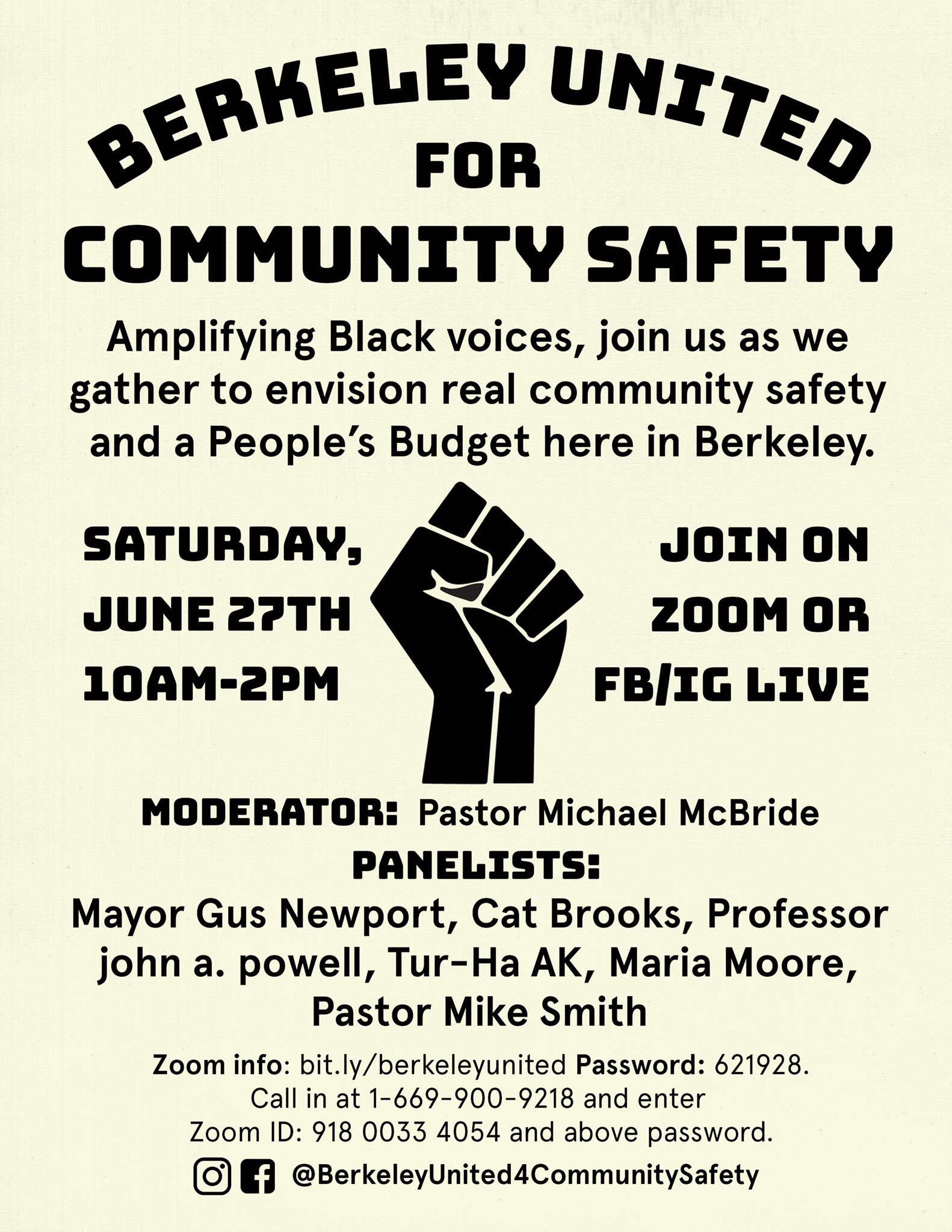 Berkeley United for Community Safety @ ONLINE, VIA 'ZOOM'