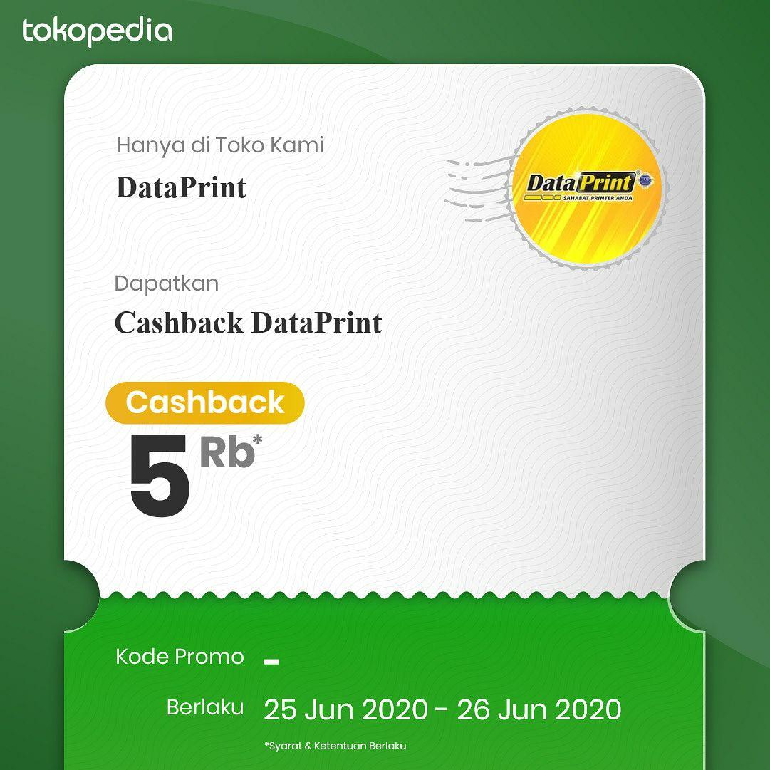 Promo DataPrint di Tokopedia  Dapatkan voucher cashback untuk pembelian produk DataPrint yang mana saja hanya di official store DataPrint Tokopedia: https://t.co/dhuDMkAkRF  Promo hanya berlaku tanggal 25 dan 26 juni 2020 Jangan lupa follow toko DataPrint ya  #promo #tokopedia https://t.co/abDUok5RCQ