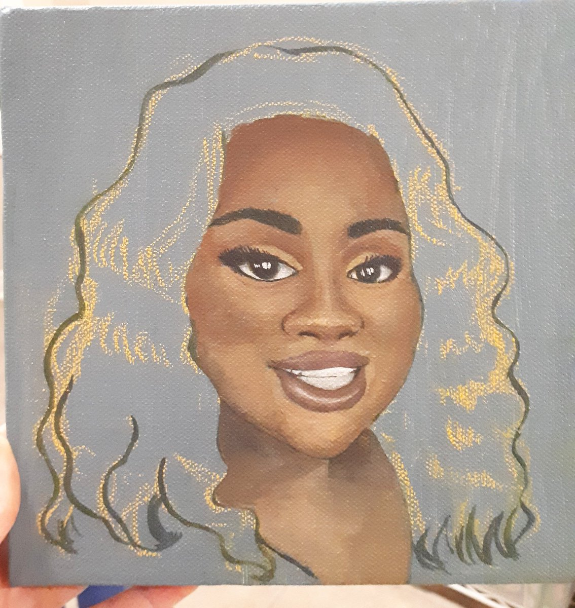 Progress on a portrait. I know I'm late, and there's still more to do but happy birthday Breonna ❤  The death of this woman in particular really struck me. She never made it to her birthday. #breonnataylor #happybirthdaybreonnataylor #blacklivesmatter