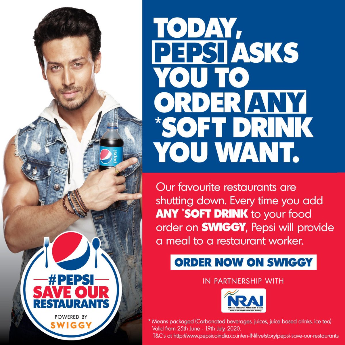 Our restaurant workers do everything they can for us. Today, let's do a little for them. I am contributing to the #PepsiSaveOurRestaurants program. You too can🤘 @PepsiIndia @swiggy_in #NRAI https://t.co/VDU8eCXPvo
