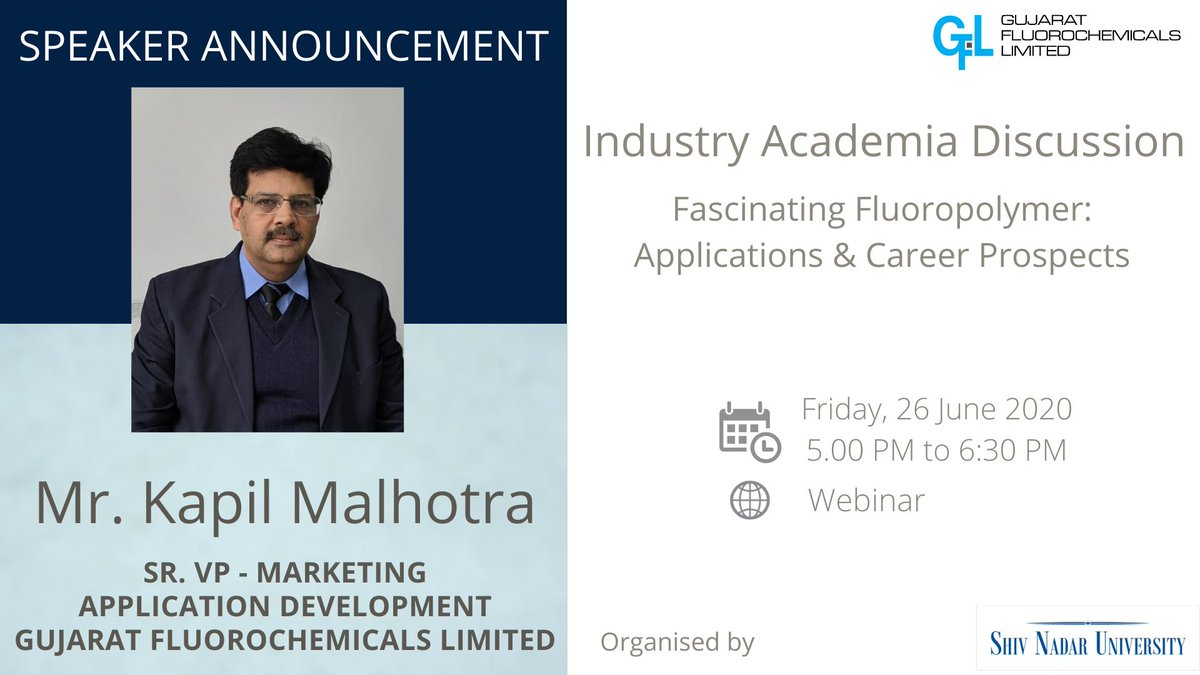 #speakerannouncement #event We are pleased to announce that Mr. Kapil Malhotra, Sr. VP – Marketing, Gujarat Fluorochemicals Limited, will be speaking at Industry-Academia Discussion organized by Shiv Nadar University, India.  #chemistry #chemicalengineering #fluoropolymers https://t.co/atNoANSnOR