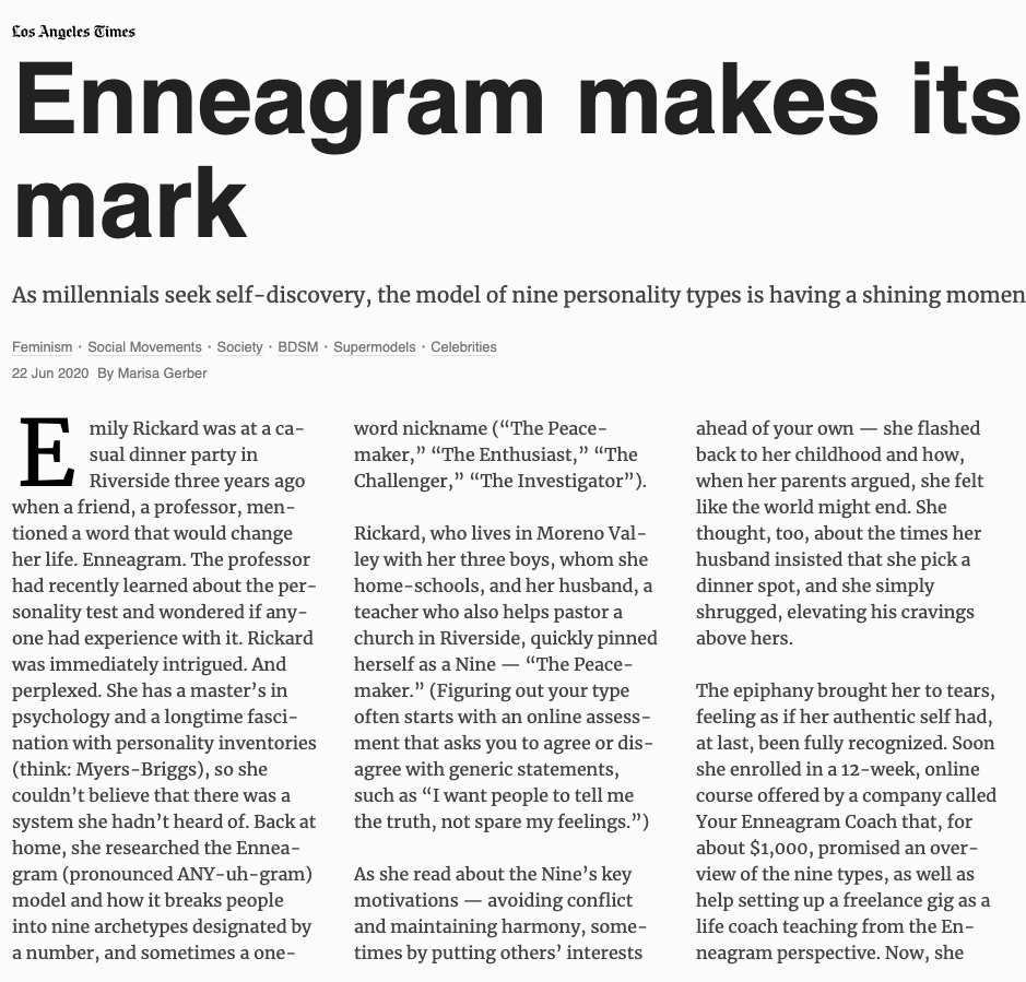 The Enneagram is hot on the West Coast right now as it will be here. It simply is better than any other personality type system since it goes much further than simply labelling a person. It provides pathways to growth and that's what sets it apart!  https://t.co/FlDi5O1Uqk https://t.co/ms6l8sLdoq