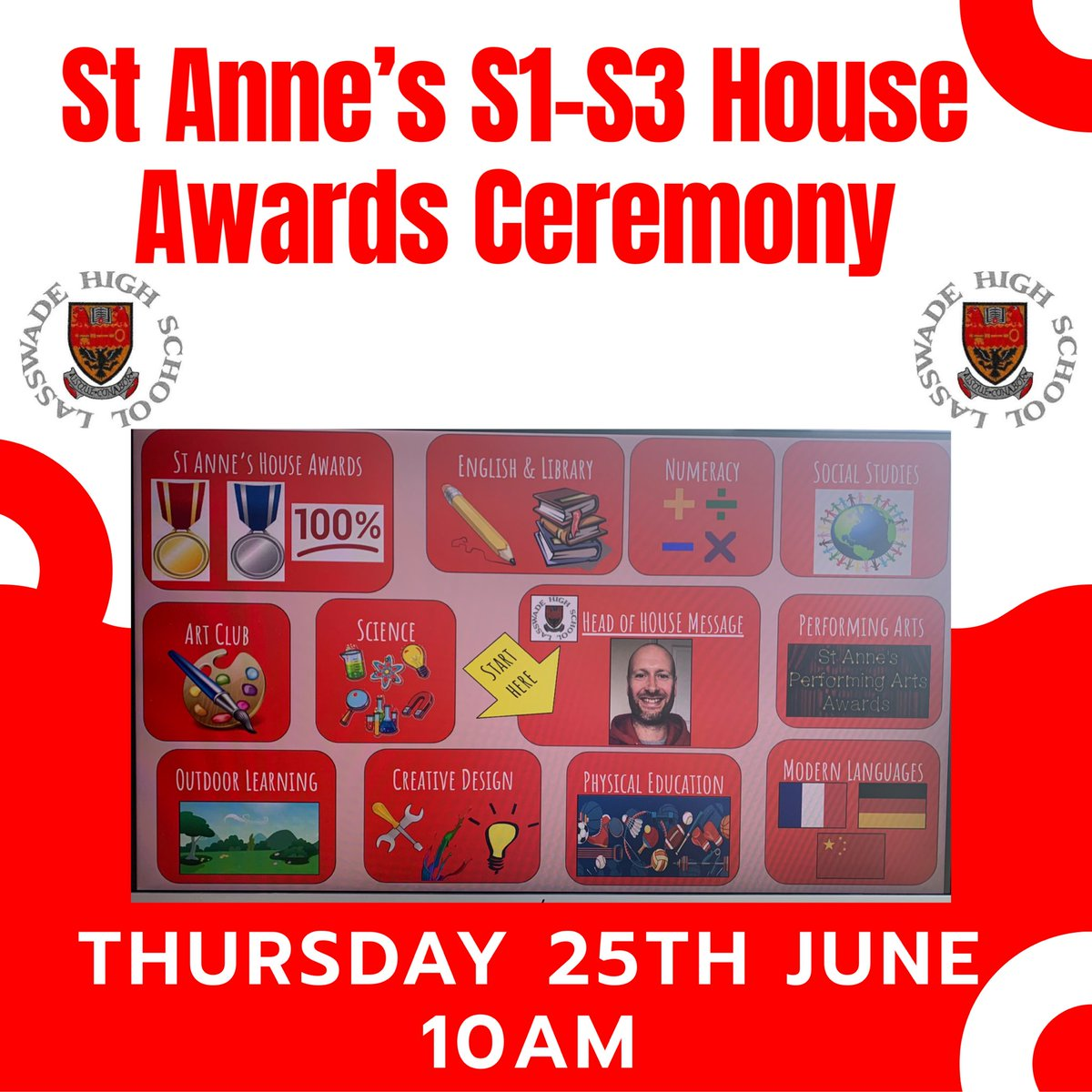 ST ANNE'S S1-S3 HOUSE AWARDS CEREMONY TODAY AT 10AM! Get yourself onto Google Classroom and enjoy! Congratulations to all of the St Anne's winners #StAnnes #TODAY #10am #Lasswade #AwardsCeremony #achievement #bravo #finalepic.twitter.com/qWYnKBKrsL