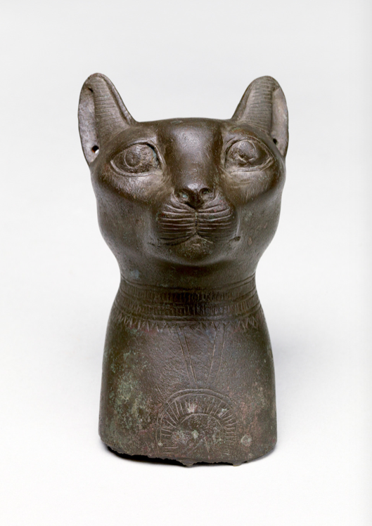 Head of a Cat, c 665 B.C. Bronze. #Egypt. The pierced ears would hold jewelry. Cats represented the goddess Bastet & were sacred animals. Bastet was associated with fertility & festivity. They were first kept as domestic pets (c 2030 BC) & their mousing capabilities were admired. https://t.co/Yvoga47ORU
