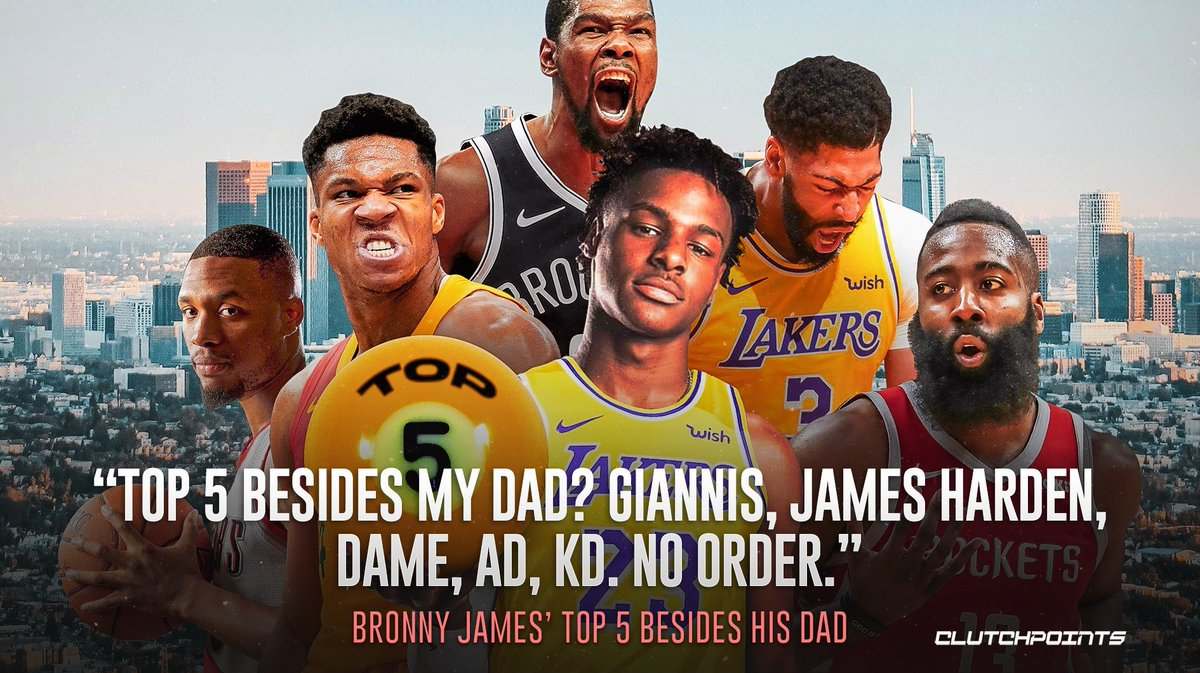 除老爸詹姆斯外,NBA現役前五球星該如何排?Bronny給出答案,球迷:怎麼不選你偶像?
