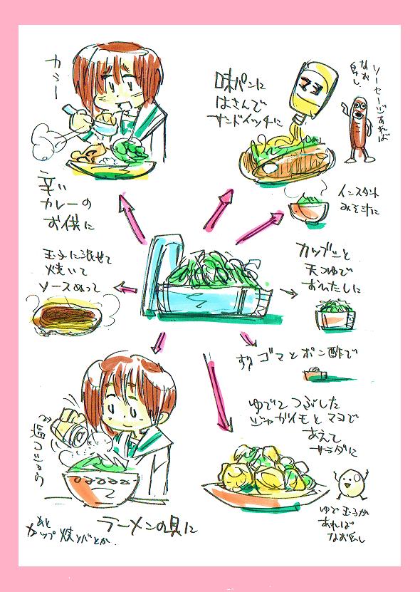 いいかい学生さん 茹でて切って絞ったキャベツを冷蔵庫に入れていつでも食えるようにしときなよ それがある時は副菜に、主菜に、ご飯のお供に  ちょうどいいってことなんだ。