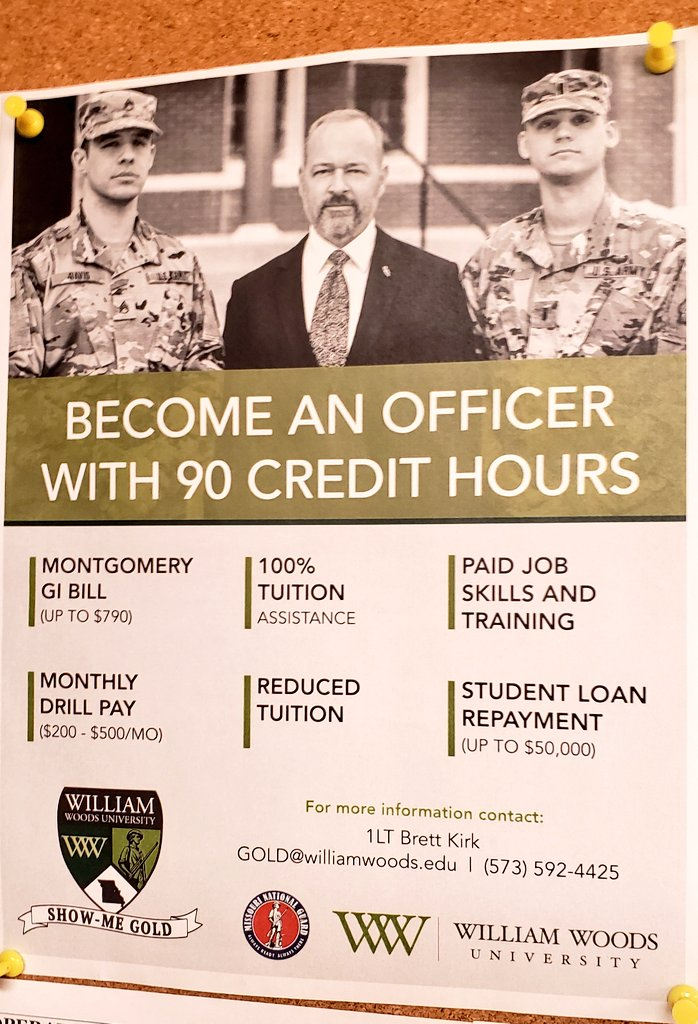 Interested in @WilliamWoodsU and serving your country part-time? Ask me about #ShowMeGold.
