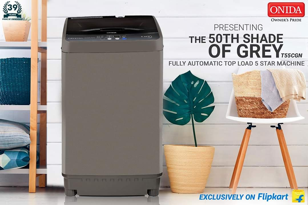 Presenting the 50th Shade of Grey!! The All New Crystal T55CGN Fully Automatic Top Load Washing Machine with a 5STAR Energy Rating! available exclusively on #Flipkart. - https://t.co/LaomGsO6Ql. . #50THSHADEOFGREY #WashingMachine #Onida #IndiaKaOnida #MadeInIndia #India https://t.co/zxmRLuA9t1