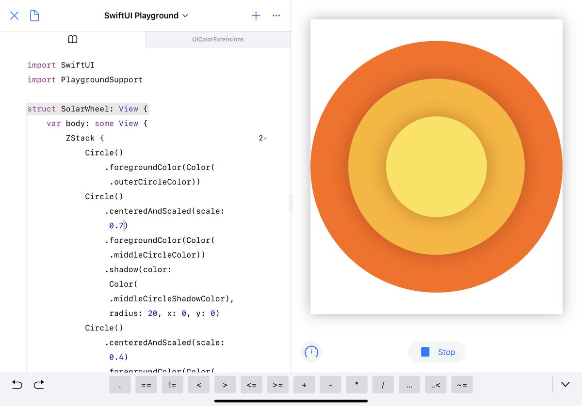 WidgetKit and Watch Complications in SwiftUI are more than reason enough for me to dive head first into SwiftUI.   Here's the first step of porting the Solar Wheel of @SolarWatch into SwiftUI  Huge thanks for @chriseidhof for his recent @appbuilders_ch talk for the Shape trick.<br>http://pic.twitter.com/5saEZXwrAW