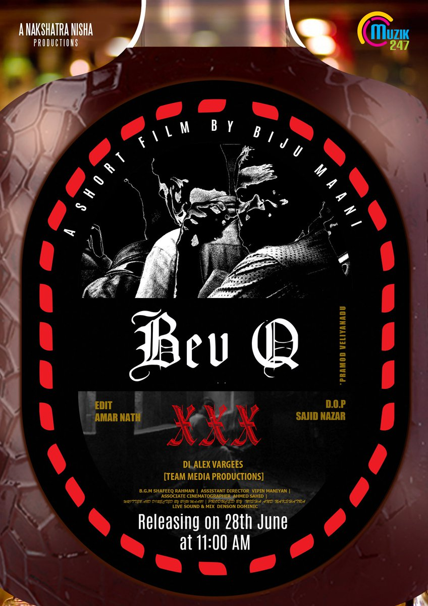 Am excited to anounce the release date of my next short film BevQ.  @muzik247in bringing this to you in their channel . Stay tuned  share and support #shortfilm #bevq #covid19 ##malayalamcinema #malayalamcomedy #muzik247pic.twitter.com/phqqN0ifkY