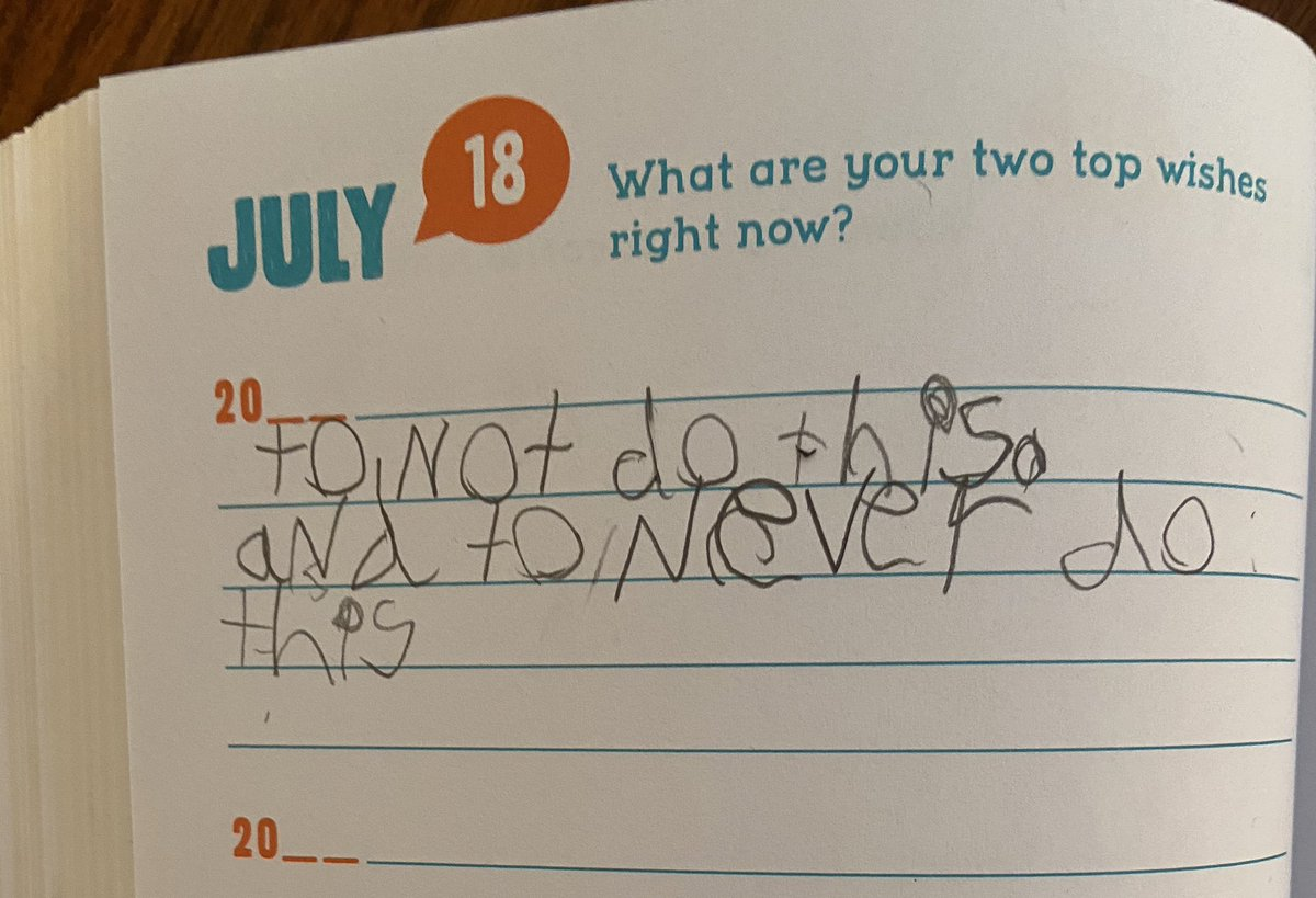 Told my 7yo she had to write before she could go play.