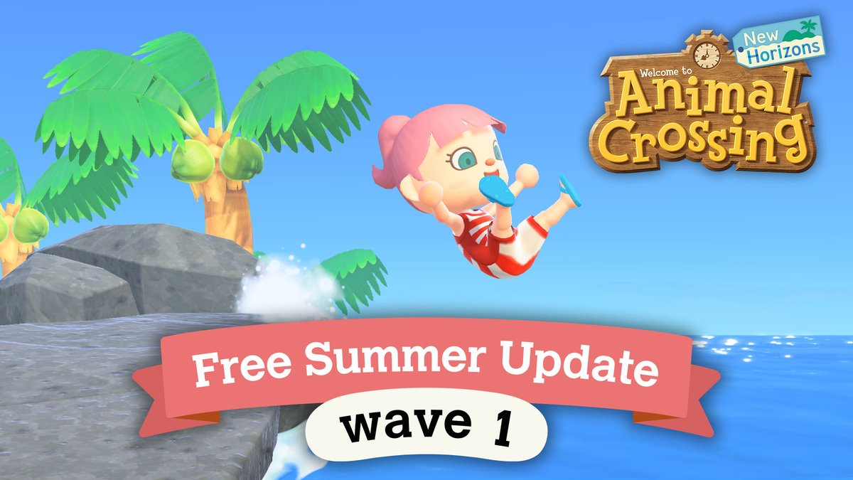 [Announcement] Cool off this summer by diving into the #AnimalCrossing: New Horizons free Summer Update – Wave 1, arriving 7/3! Put on your wet suit to dive & swim in the ocean, and even meet new characters! Stay tuned for info on Wave 2, planned for release in early August.