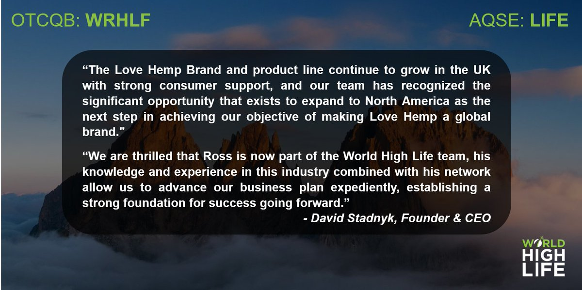 🗣️ We are very pleased to announce the appointment of international Hemp/CBD executive, Mr. Ross Westbrook, as Advisor for North American growth & operations as the Company & @LoveHempuk prepares to build upon its UK success 📈 More here 👉 https://t.co/9az3LMTuYc #LIFE #WRHLF https://t.co/nnkM08n6kj