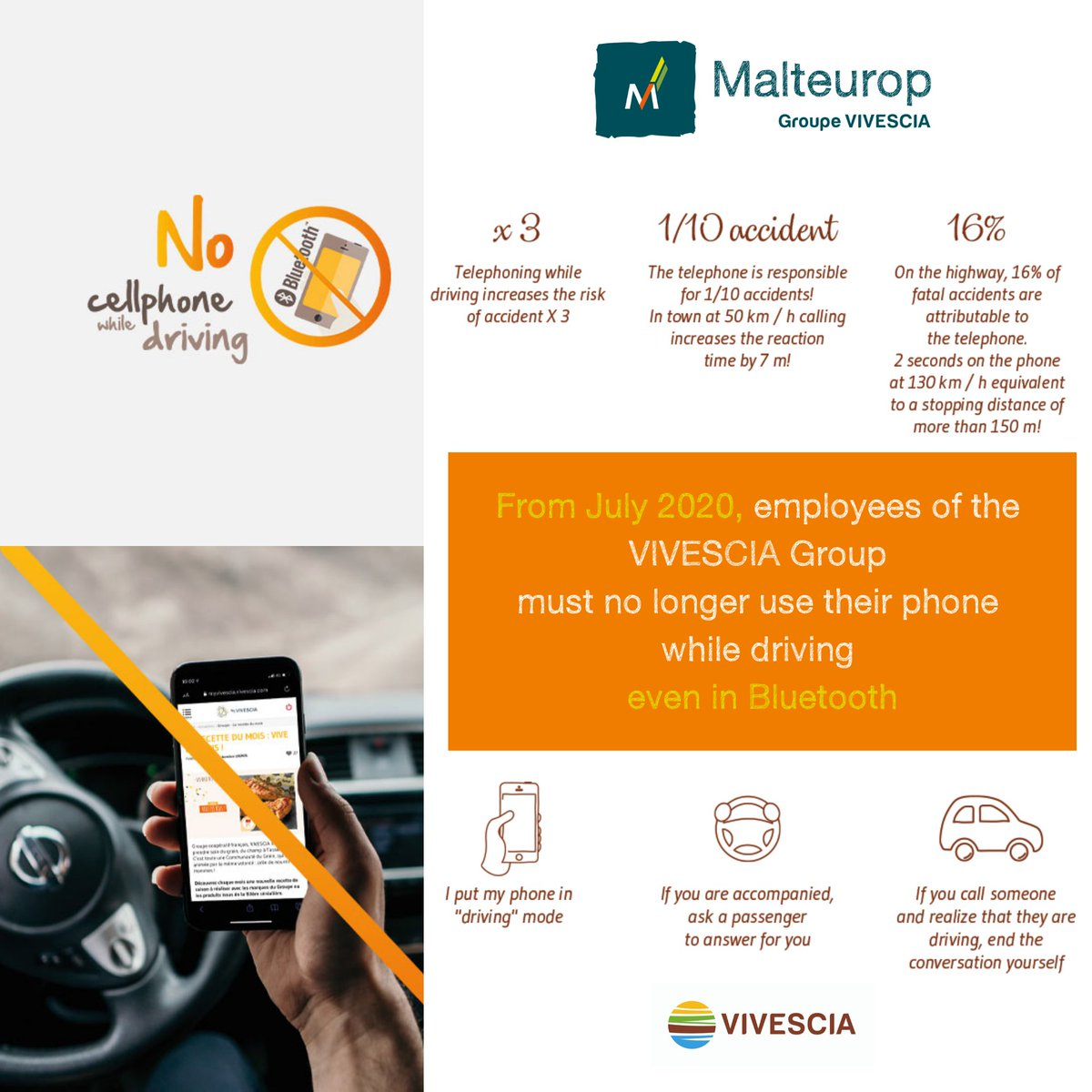 CARE IN MY CAR 🚗  As part of the deployment of group @Vivescia  #CARE approach to road risk, a new #safety rule will be integrated by all employees all around the world 🌎 👷🏼♀️ https://t.co/ECstgg56py