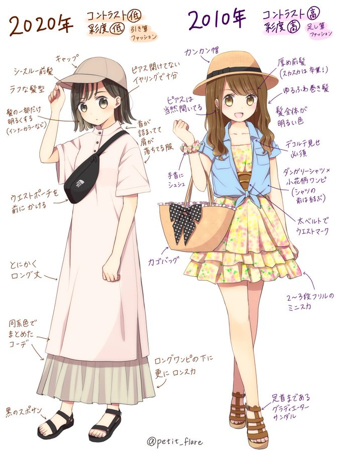 Japanese Artist illustrates the differences between Japanese fashion Ten years ago and now!