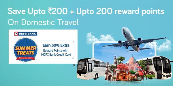 Double Savings! Enjoy discount up to Rs. 200 and earn 50% additional Reward Points for each domestic flight or bus booking with HDFC Bank Credit Cards.  Use Promo code YTHDFC20  Offer valid till June 30, 2020.   Know More: https://t.co/UQ3crlK9gJ https://t.co/sZ36Sxpdb5
