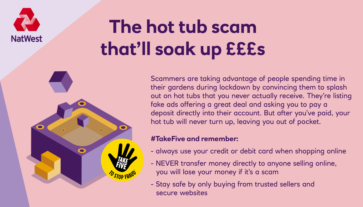 Find out how to pull the plug on this hot tub scam before it drains your bank account.  #TakeFive