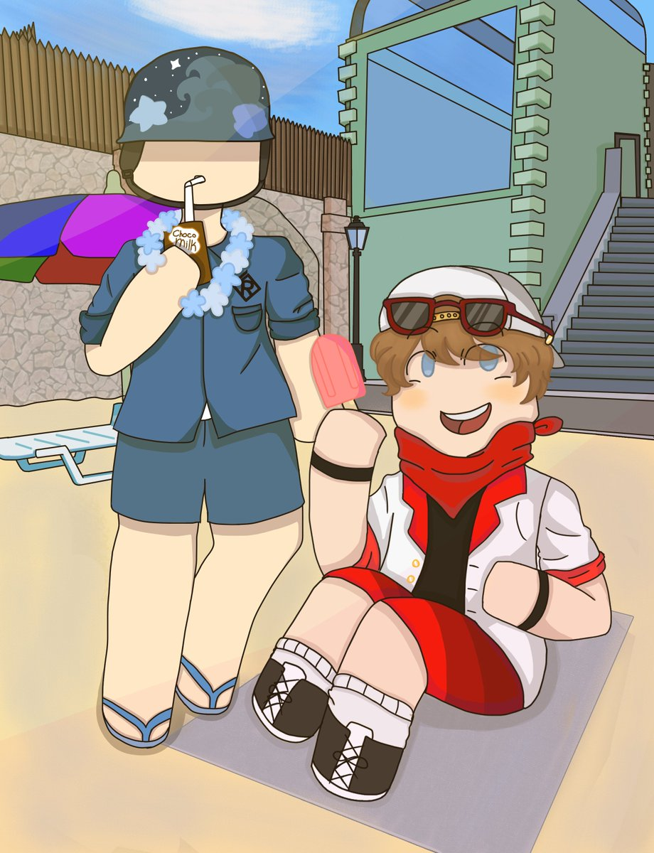 (Okay, I did a repost of this because the last one had bad quality-) I gave Rookie and Grunt Summer Skins! Anyway, I had a lot of fun drawing this. :) #RobloxArsenal #Roblox #RobloxArt https://t.co/Is5z7N8ccD