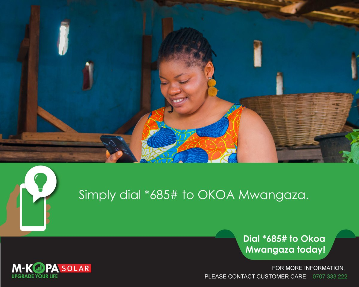 Wondering whether you qualify for a lighting loan? Simply dial *685# to check your eligibility today.  See more here: https://t.co/Wrkp606tBx #OKOAMwangaza #StaySafe https://t.co/UMsvjdczfH