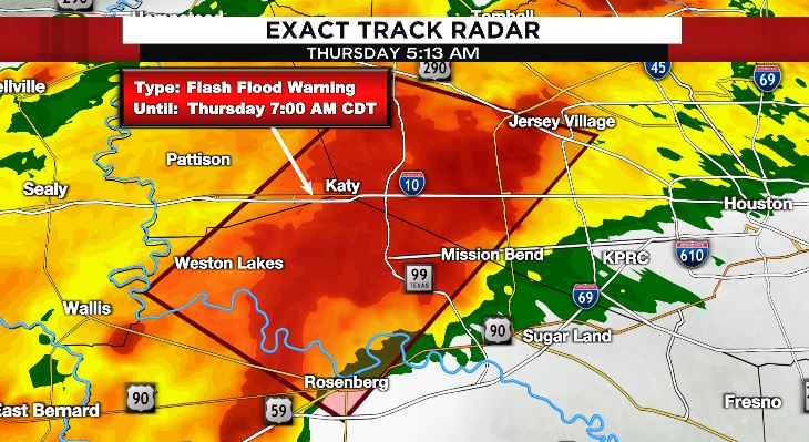 FLASH FLOOD WARNING on the west side until 7AM - STAY OFF THE ROADS IN THIS AREA! 4.5'' of rain in just 3hrs is sending Mayde Creek over bank at Greenhouse Road #go2weather