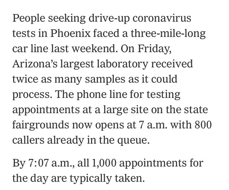 Good morning, this is what coronavrius testing currently looks like in Arizona.   https://t.co/Nv7WdPicYR https://t.co/pzwjpEb4ql