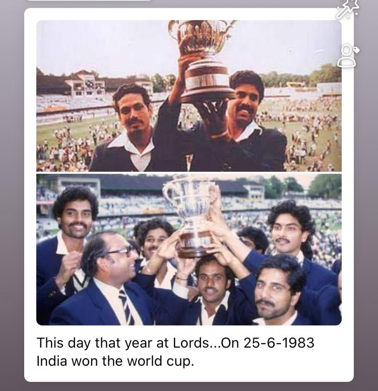 India won the world cup on this day 37 years ago! Feel privileged & blessed to have been a part of that incredible team under the leadership of @therealkapildev ! Still get goosebumps when I think about the historic moment! #1983worldcup #memories https://t.co/1190iCxwRS