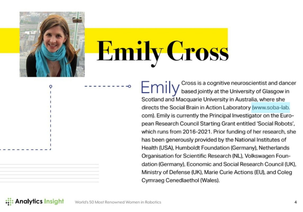 Very happy for my supervisor @brain_on_dance as she has been listed as one of the world's 50 most renowned women in Robotics! Huge congrats and well deserved! Proud to be learning from and working with Emily! #TeamSoBots FTW! @UofGPsychology https://t.co/jgUMQPxUPY https://t.co/Qckz2OSbfr